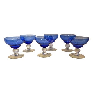 Venetian Mouth Blown Cobalt Martini Glasses - S/6