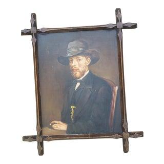 English Edwardian Man Portrait Oil Painting