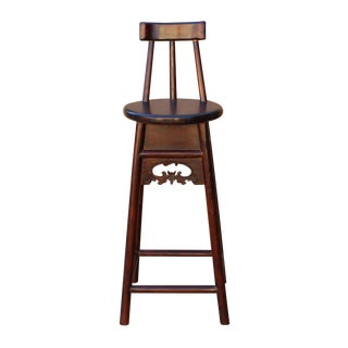 Quality Handmade Chinese Dark Brown Solid Elm Wood Bar Stool With Back