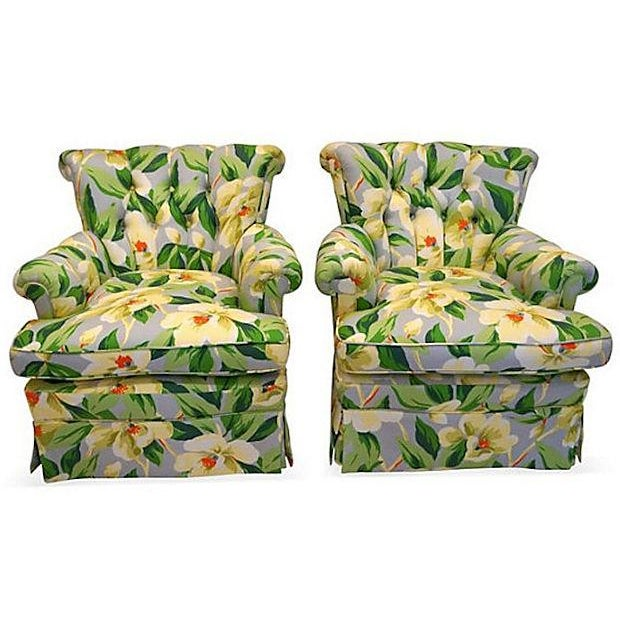 Image of Vintage 1940s Magnolia Print Armchairs - A Pair