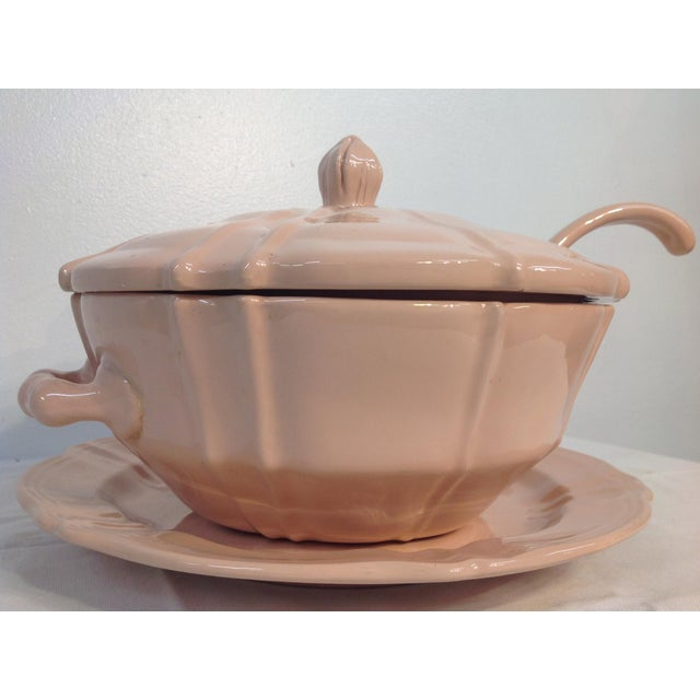 Image of Pink 1920s Soup Tureen With Lid And Ladle