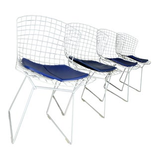 Harry Bertoia Mid-Century Modern White Wire Dining Chairs- Set of 4