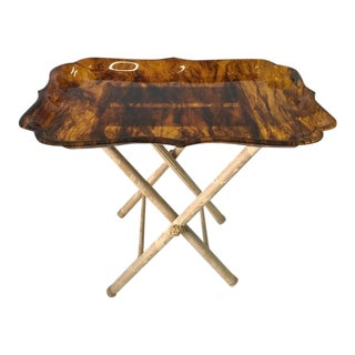 Exceptionally Large Tortoise Acrylic Tray on Fortuny Silk Covered Stand
