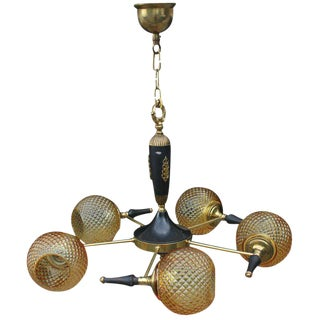 1940s French Art Deco 5 Light Chandelier