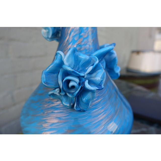 Image of Pair of Handblown Turquoise Rose Murano Glass Lamps