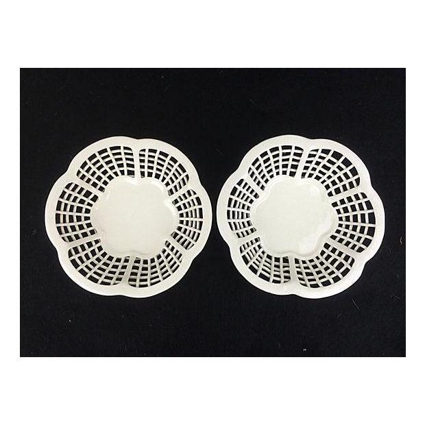 White Lattice Creamware Baskets - A Pair - Image 2 of 3