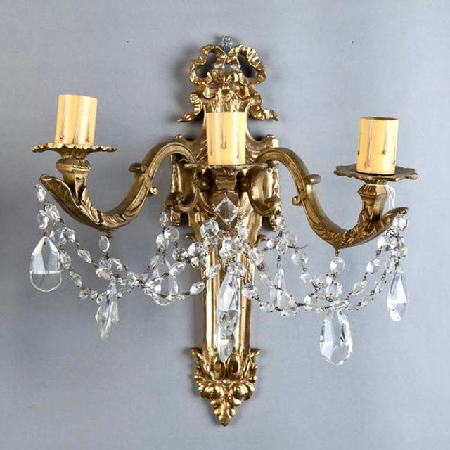 Pair of Large French Brass and Crystal Three Light Sconces - Image 6 of 7