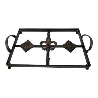 Fleur De Lis Jeweled Wrought Iron Tray