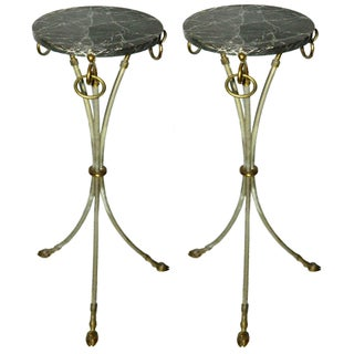 1960s Vintage French Round Gueridon Side Tables - Pair