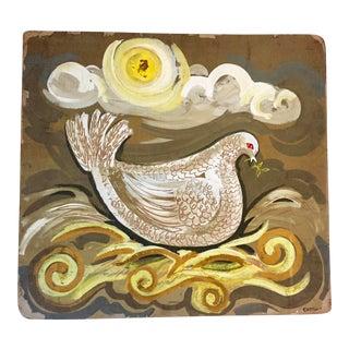 Folk Art Dove on Board