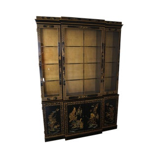 Drexel Et Cetera Black Lacquer Chinoiserie China Cabinet