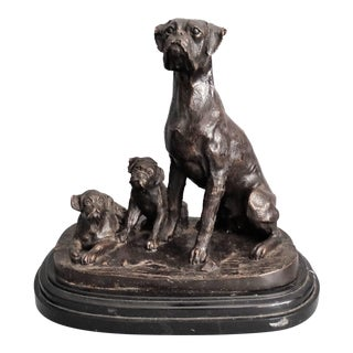 Antique French Bronze Boxer Dog and Pups Sculpture