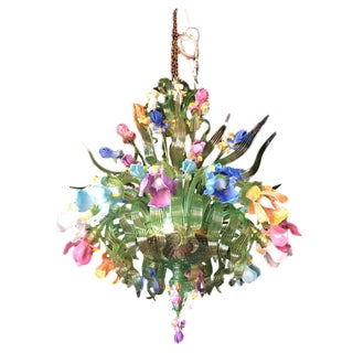 "Guarnieri Monumental Murano 12-Arm ""Aquatic Iris"" Chandelier"