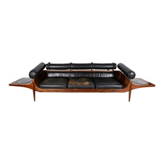 Custom Rosewood and Leather Mid-century Sofa by John Brathwaite, Canada 1965