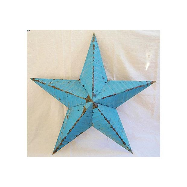Large Reclaimed Barn Metal Blue Star - Image 2 of 6