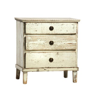 White Distressed 3-Drawer Nightstand
