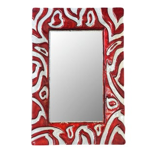 Italian Modern Red and Clear Glass Mirror, Murano
