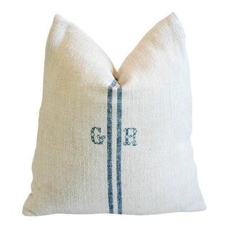Blue Stripe French Grain Sack Down & Feather Pillow