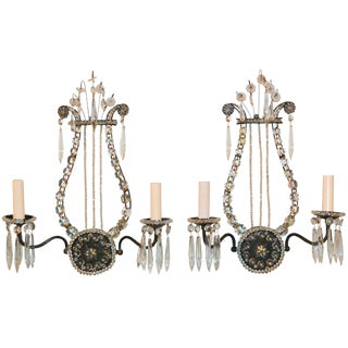Pair of French Lyre Form Sconces