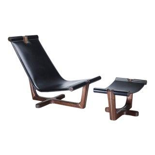 Modern Loft Walnut & Black Leather Armchair & Ottoman / Made in Europe