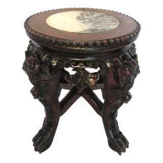 Antique Chinese Carved Claw Foot Plant Stand-circa 1880