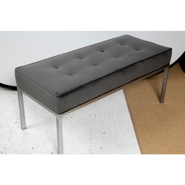 Image of Mid-Century Steel Upholstered Grey Velvet Bench