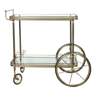 Vintage French Brass Bar Cart