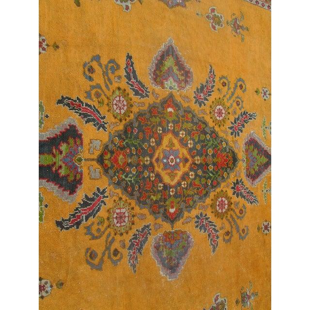 Antique Persian Orange/Green Oushak Style Rug - Image 5 of 9