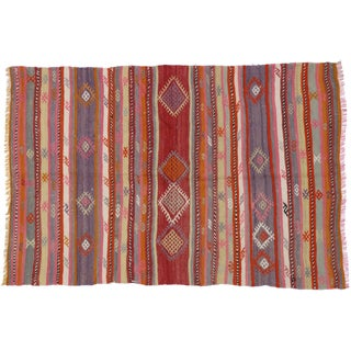 "Vintage Turkish Tribal Kilim With Boho Chic Style & Pink, Red & Purple Stripes - 4'7"" X 6'10"""
