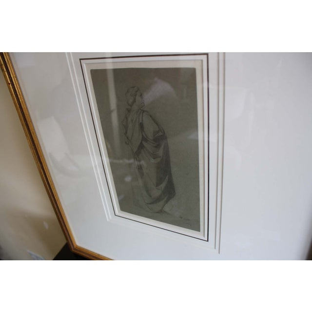 Image of McGuire Signed Figural Sketch in Gold Frame