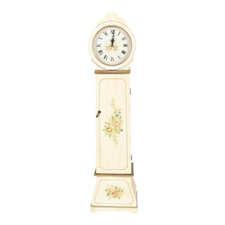 White Grandmother Wooden Clock With Hidden Shelves