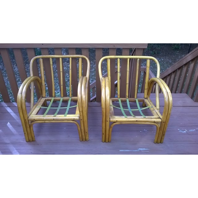 Vintage Bamboo Bentwood Rattan Chairs - A Pair - Image 4 of 10