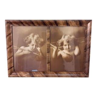 Cupid Awake and Cupid Asleep Antique Original Print in Frame