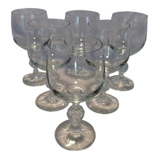 6 Vintage Czech Crystal Wine Glasses by Bohemia