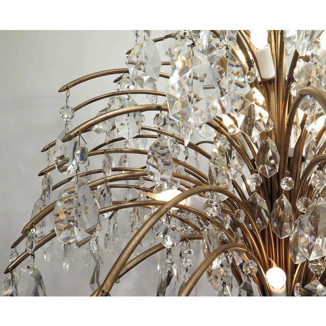 Vintage Mid Century Palm Spray Crystal Chandelier - Image 5 of 8