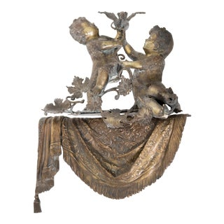 Brass & Spelter Putti/Cherubs with Bird Ledge Mount