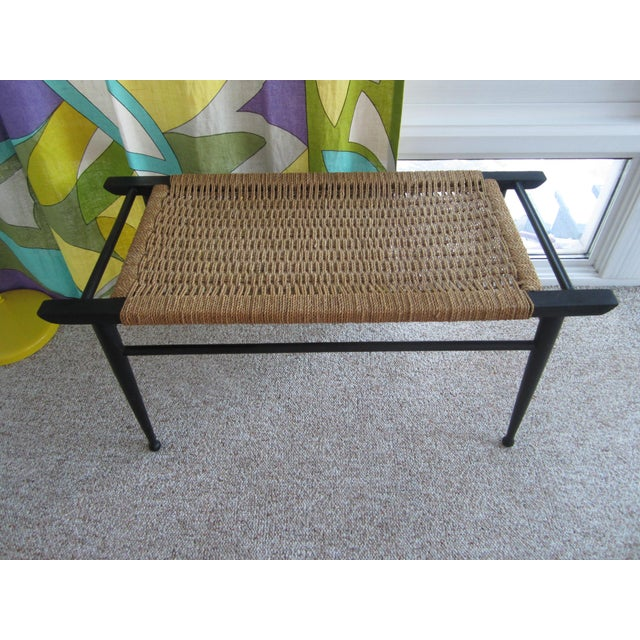 Vintage Mid-Century Modern Woven Rope Ebony Stained Wooden Bench - Image 7 of 7