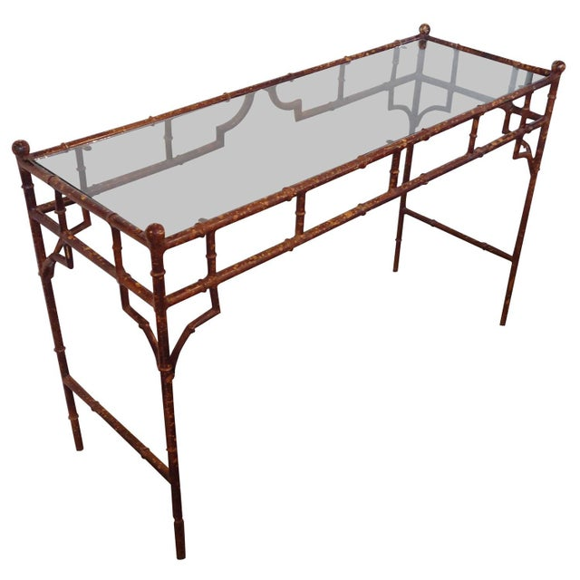Medium Sized Sleek Faux Bamboo Style Iron Console - Image 1 of 4