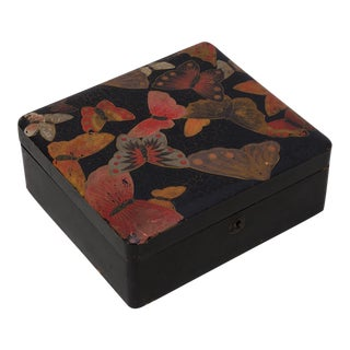 Japonaise Black Lacquer Box with Butterflies