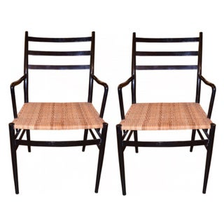 Gio Ponti Style Caned Arm Chairs - A Pair