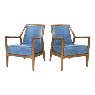 Pair of Italian Modern Walnut Armchairs, Carlo de Carli