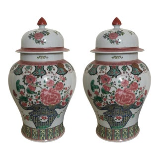 Beautiful Chinese Floral Hand Painted Ginger Jar Vases - a Pair