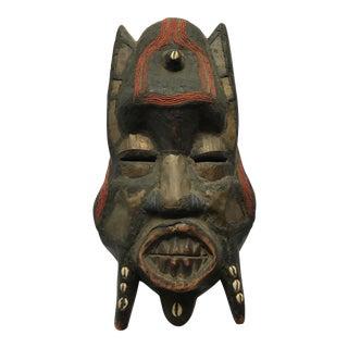Metal Beads & Shells African Wooden Mask
