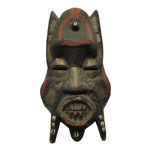 Metal Beads & Shells African Wooden Mask - Image 1 of 11