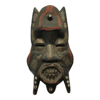 Metal Beads & Shells African Wooden Mask
