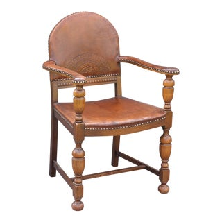 Early 20th-Century English Leather Armchair