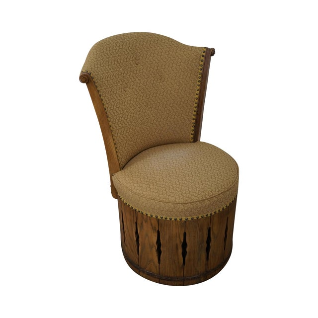 Romweber Viking Oak Swivel Barrel Chair Chairish