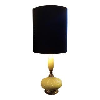 Vintage Ceramic Yellow & Brass Mid-Century Genie Bottle Lamp