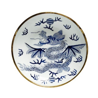 Vintage Blue and White Ceramic Dragon Dish
