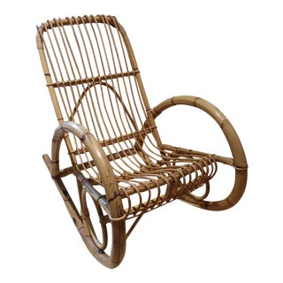 Vintage Bamboo Rocking Chair / Porch Chair